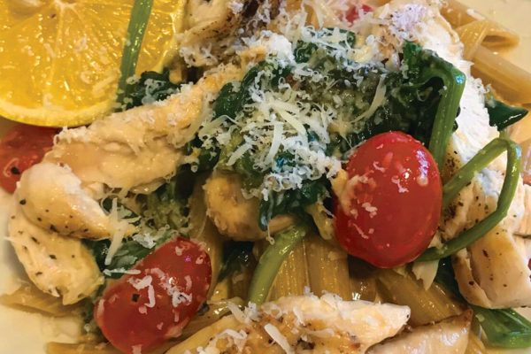 Penne with Grilled Chicken, Spinach & Cherry Tomatoes in a Lemon Parmesan Sauce